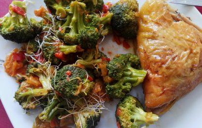 Pollo asado con verduras
