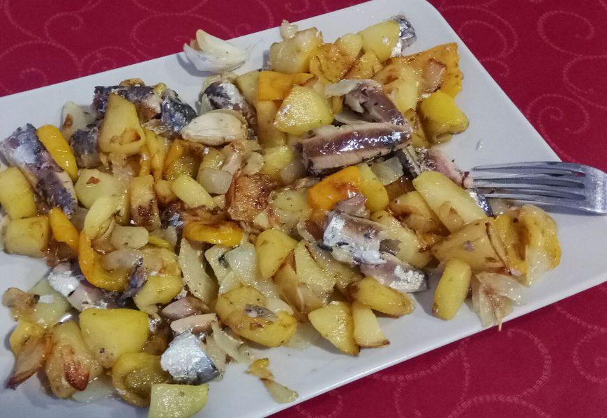 Patatas con sardinas